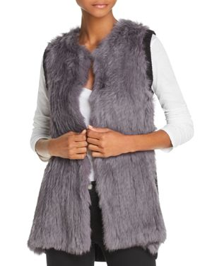 525 AMERICA Knit-Back Real Rabbit Fur Vest in Gray Multi
