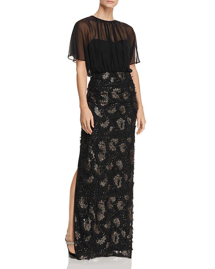 Aidan Mattox - Sequined Floral-Appliqué Gown
