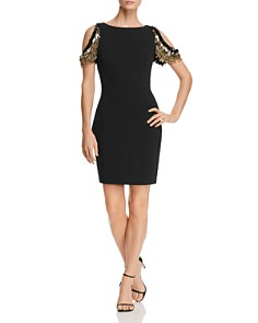 Aidan Mattox - Embellished Cold-Shoulder Sheath Dress