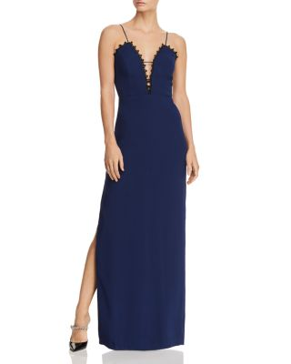 Lace Trimmed Crepe Column Gown by Aidan By Aidan Mattox