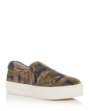 J/Slides Women'S Harry Slip-On Platform Sneakers in Green