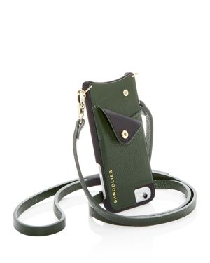 BANDOLIER Leather Iphone Crossbody in Evergreen