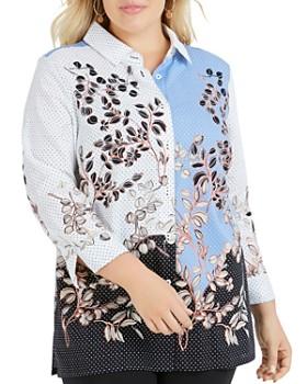c1c0cdc1beb Foxcroft Plus - Libby Floral Dot Button-Down Tunic ...