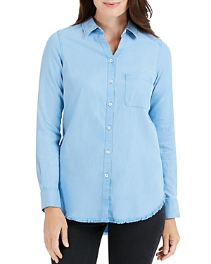 Foxcroft HAVEN CHAMBRAY FRAYED HEM SHIRT