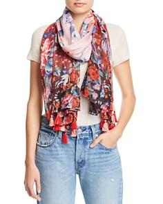 Echo - Tasseled Floral Oblong Scarf