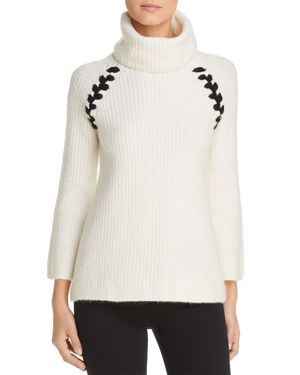 HEATHER B Turtleneck Whipstitch Sweater in Ivory