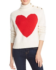 kate spade new york - Heart Print Turtleneck Sweater