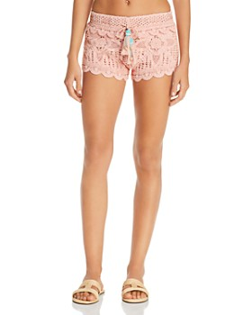 3d113e0a72 Surf Gypsy - Dusty Rose Crochet Swim Cover-Up Shorts ...