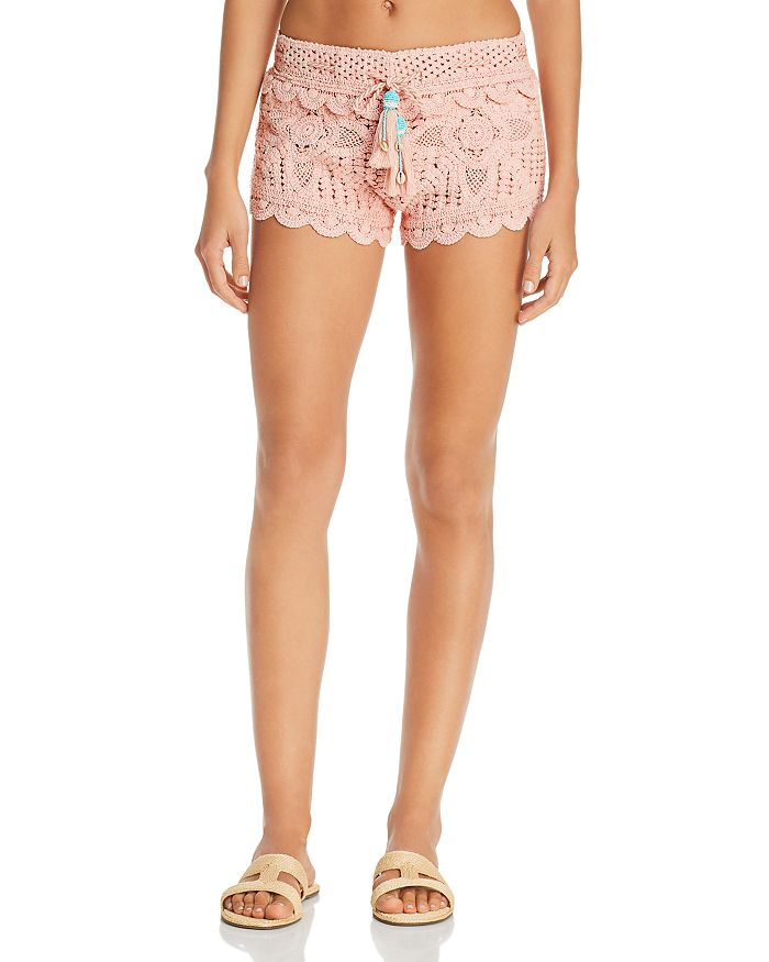 8ea18ff95ae8f Surf Gypsy - Dusty Rose Crochet Swim Cover-Up Shorts