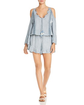 Surf Gypsy - Washed Denim & Crochet Lace Pleated Romper Swim Cover-Up