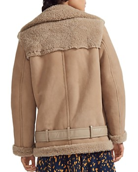 Maje - Gombery Real Sheep Shearling Detail Moto Jacket