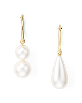 Beck Jewels - Arcilla Mismatched Simulated Pearl Drop Earrings