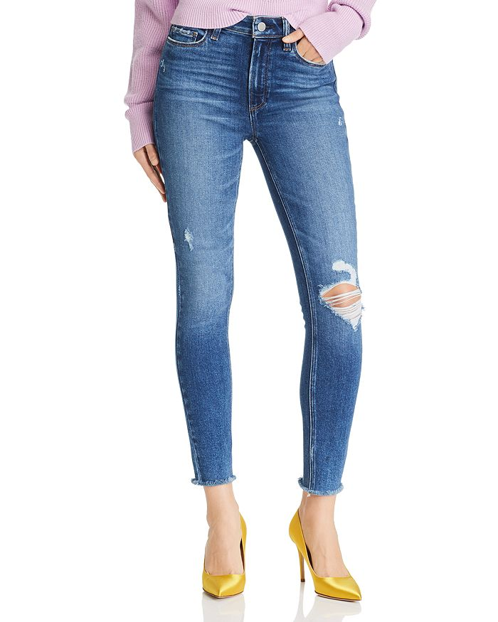 PAIGE - Hoxton Ankle Skinny Jeans in Alessio Destructed