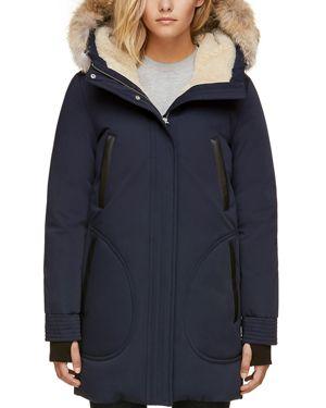 SOIA & KYO Saundra Fur Trim Hooded Down Coat in Indigo