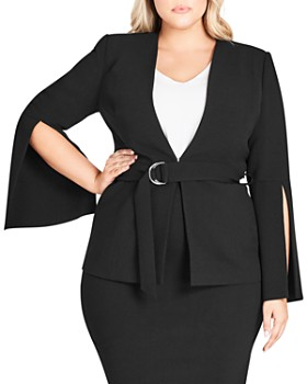 City Chic Plus -  Split-Sleeve Belted Jacket