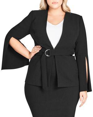 City Chic Plus Split-Sleeve Belted Jacket