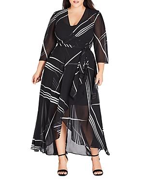 City Chic Plus Power Lines Maxi Wrap Dress