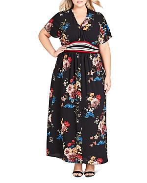 Vintage Dresses Australia- 20s, 30s, 40s, 50s, 60s, 70s City Chic Plus Avery Floral Maxi Dress AUD 185.94 AT vintagedancer.com