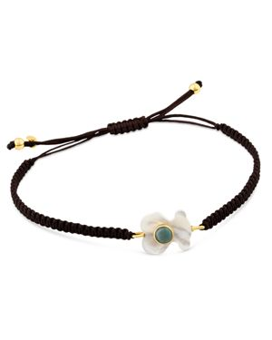 TOUS 18K Yellow Gold Super Power Amazonite & Mother-Of-Pearl Bear Cord Bracelet in Multi/Black