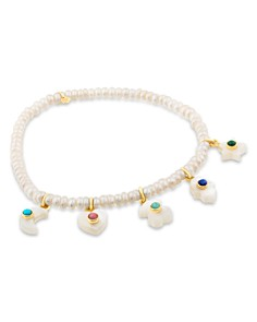TOUS - 18K Yellow Gold Cultured Freshwater Pearl & Gemstone Charm Bracelet
