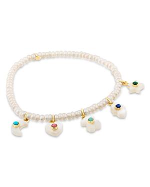 Tous 18K Yellow Gold Cultured Freshwater Pearl & Gemstone Charm Bracelet