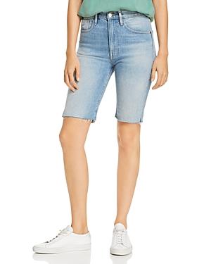 Frame Le Vintage Raw-Edge Denim Bermuda Shorts in Medina