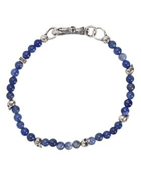 John Varvatos Collection - Sterling Silver Skulls & Sodalite Bead Bracelet
