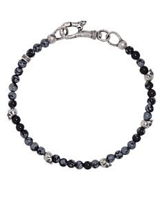 John Varvatos Collection - Sterling Silver Skulls & Gray Obsidian Bead Bracelet