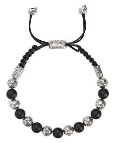 John Varvatos Collection - Sterling Silver & Lava Distressed Bead Adjustable Bracelet