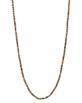 "John Varvatos Collection - Brass & Jasper Bead Necklace, 24"""