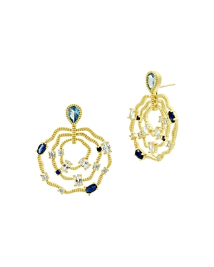 Freida Rothman Imperial Blue Triple Layer Wavy Earrings in 14K Gold-Plated Sterling Silver