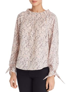 La Vie Rebecca Taylor Smocked Paisley-Print Cotton Top