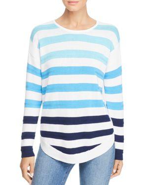 DESIGN HISTORY Color-Block Stripe Sweater in White/Blue Combo