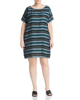 Eileen Fisher Plus - Stripe Linen Shift Dress