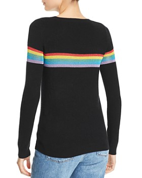 554948781b ... Madeleine Thompson - Metallic-Rainbow-Stripe Cashmere Crewneck Sweater