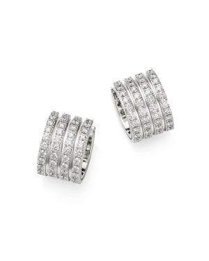 Roberto Coin 18K White Gold Portofino Pave Diamond Four-Row Earrings
