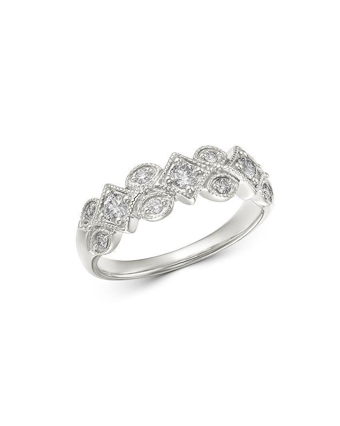 Bloomingdale's - Diamond Geometric Milgrain Band in 14K White Gold, 0.40 ct. t.w. - 100% Exclusive