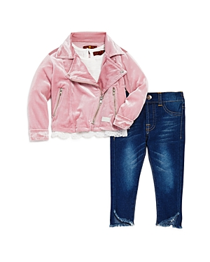 7 For All Mankind Girls Velour Moto Jacket Tee  Jeans Set  Baby