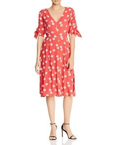 AQUA - Tie-Cuff Floral Midi Dress - 100% Exclusive
