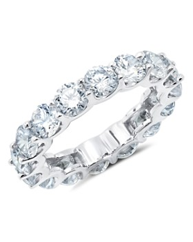Crislu - Round Eternity Ring in Platinum-Plated Sterling Silver