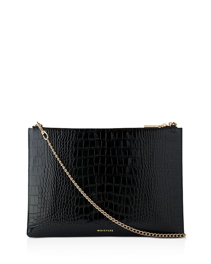 Whistles - Rivington Mini Shiny Croc-Embossed Clutch