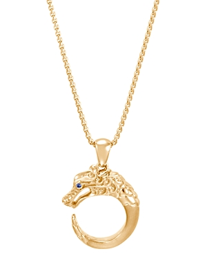 John Hardy 18K Yellow Gold Legends Naga Pendant Necklace with Blue Sapphire Eyes, 18