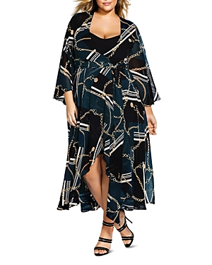 City Chic Plus Chained Up Maxi Wrap Dress