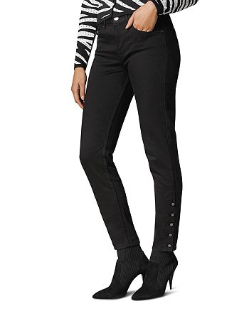 KAREN MILLEN - Button-Hem Skinny Jeans in Black