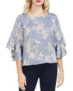 VINCE CAMUTO - Printed Ruffled Bell-Sleeve Blouse