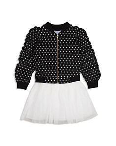 Pippa & Julie - Girls' Ruffle Star Bomber Jacket & Layered-Look Dress Set - Baby