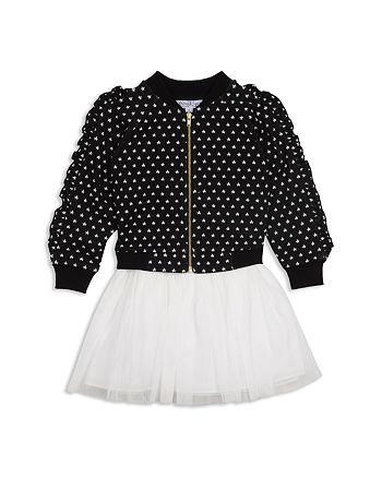 Pippa & Julie - Girls' Ruffle Star Bomber Jacket & Layered-Look Dress Set - Baby