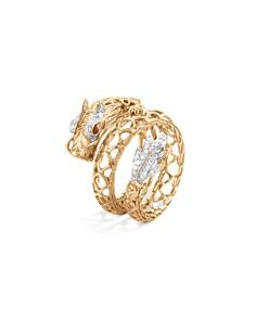 JOHN HARDY - 18K Yellow Gold Legends Naga Diamond Pavé Dragon Coil Ring with Ruby