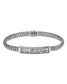 JOHN HARDY - Sterling Silver Classic Chain Extra-Small Bracelet with White Diamond  & Gray Diamond Pavé