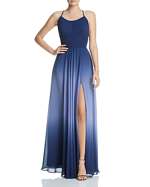 Aqua Ombre Chiffon Gown - 100% Exclusive